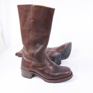 Frye Campus 14G Brown Leather Pull on Moto Boots